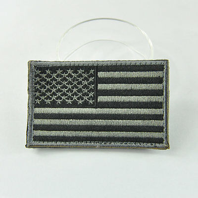 USA American US Flag Embroidered Patch Gray Tactical Moral Military Badge