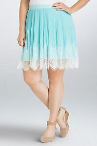 NWT Torrid Plus Size 20W Turquoise Chiffon Pleated White Lace Trim Skirt (BBB15)