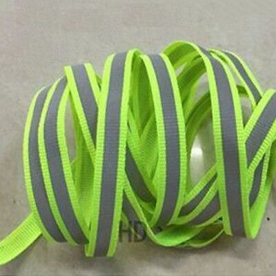 50M 10MM Reflective Tape Strip Sew-On Silver Fabric Trim Safty Vest 10mm NEW