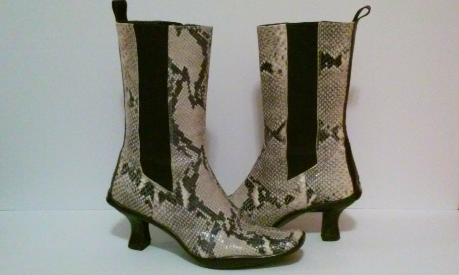 DONALD J PLINER SNAKESKIN BOOTS ON WOMEN SNAKE LEATHER SLIP ON BOOTS MID CALF SIZE 7 US 142fd6
