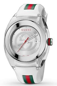 9be0c5e16be Image is loading Gucci-Sync-YA137102-White-Rubber-White-Dial-Unisex-