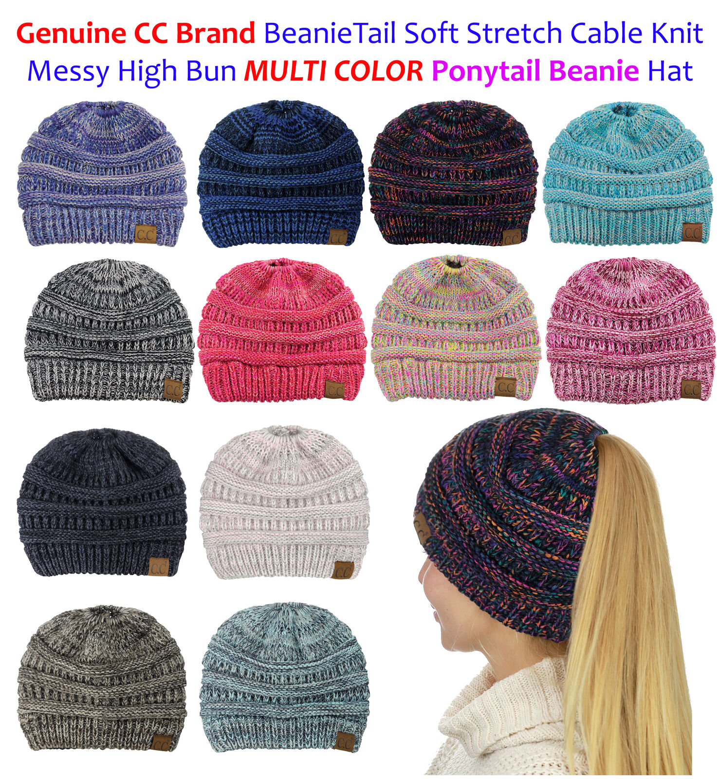 72d666f5574 Beanietail Soft Stretch Cable Knit Messy High Bun Ponytail Beanie Hat 3  Tone for sale online