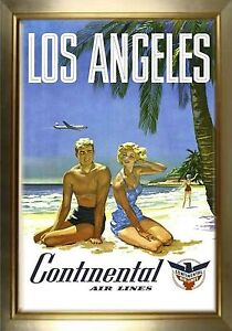 MAGNET Travel Poster Photo Magnet LOS ANGELES Continental Airlines Couple Beach
