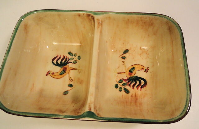 Pennsbury Pottery Rooster Divided Serving Bowl