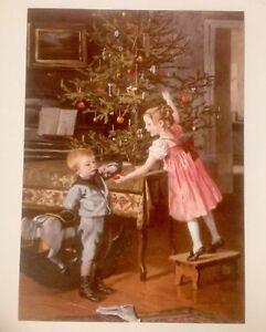 2-Weihnachtskarten-Altes-Motiv-1895-Kinder-Advent-Tannenbaum-Neu