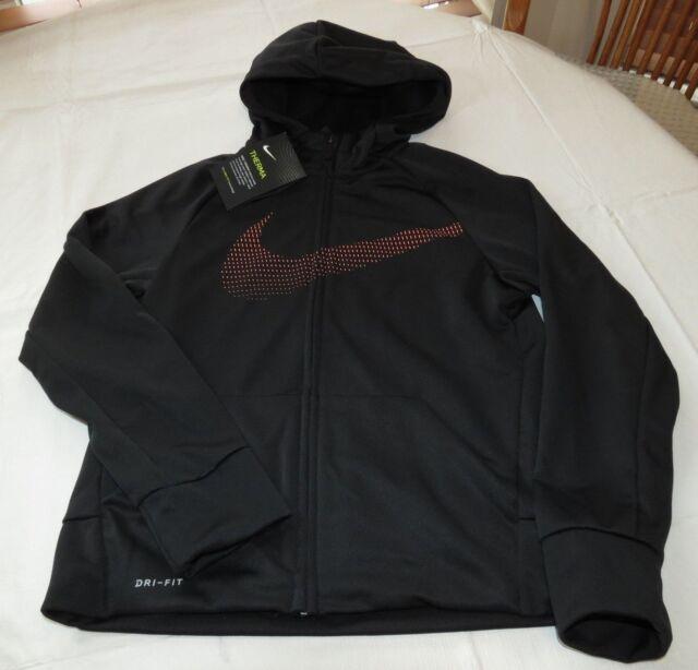 Boy's Nike Therma Fit858245 010 Black Swoosh zip up hoodie jacket coat L large