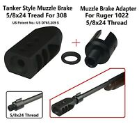 Ruger 1022 Muzzle Brake Adapter 5/8x24 Thread +tanker Style Muzzle Brake For 308