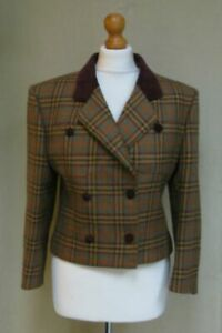 Vintage Austin Reed Options Brown 100 Wool Checked Velvet Trim Jacket Blazer 10 Ebay