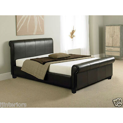 COMO 4FT6 DOUBLE BED OR KING SIZE LEATHER SLEIGH BED WITH MEMORY FOAM MATTRESS