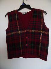 Lauren Brooke Ladies Red Plaid  Large Vest