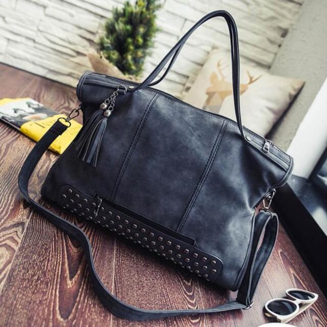 Fashion Rivet Tassel Women Handbag Large Capacity Leather Messenger Shoulder Bag