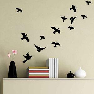 diy flying birds art wall sticker black vinyl decals mural home decal room decor ebay. Black Bedroom Furniture Sets. Home Design Ideas