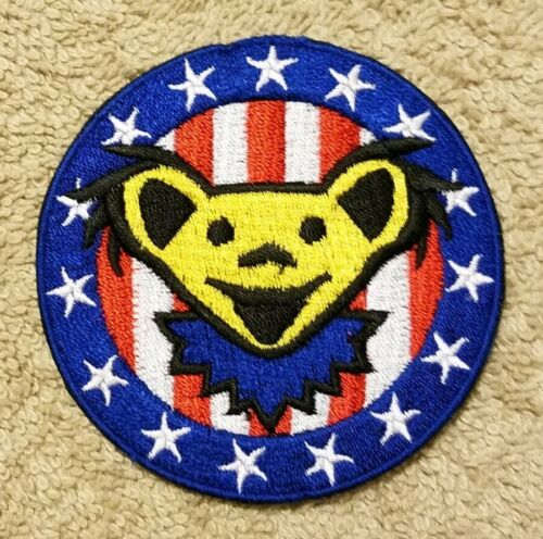Grateful Dead USA FLAG Bear HIPPY PSYCHEDELIC MUSIC collectors patch