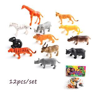 12pcs Set Plastic Zoo Animal Small Figure Toy Cute Animal Shape Kids