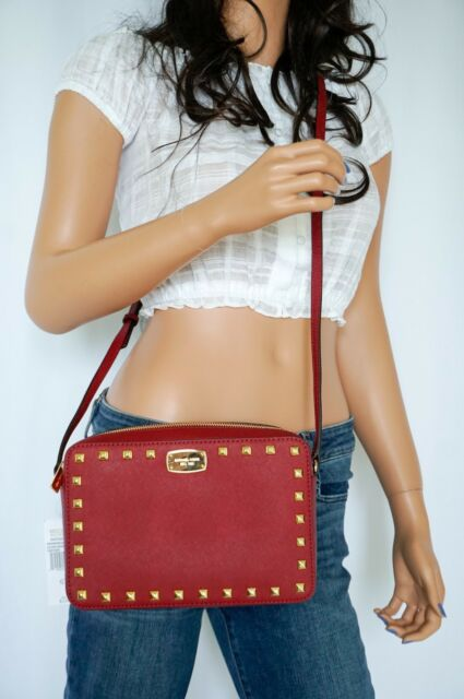 a16f2e50605ff7 NWT MICHAEL KORS SAFFIANO STUD LG EW CROSSBODY LEATHER BAG CHERRY GOLD  STUDDED
