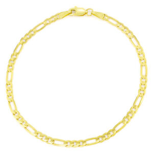 Pure-14K-Yellow-Gold-Real-3-5mm-Italian-Figaro-Chain-Link-Bracelet-Womens-7in-7-034