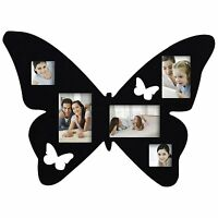 Adeco 5-opening Black Wood Butterfly Wall Hanging Collage Photo Picture Frames