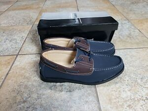 e55f7d8c3 New In Box FRANCO VANUCCI Boat-32 Navy/Brown Boat Shoes Men's Size ...