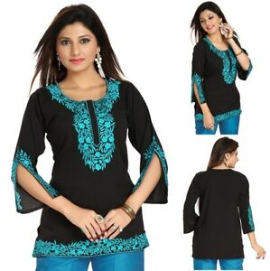 Women-Designer-Short-Fancy-Indian-Top-Embroidery-Kurti-Tunic-Black-Shirt-RJ08