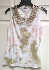 Taryn-Taylor-Womens-Tank-Top-White-Green-Pink-Crocheted-Collar-Size-XL