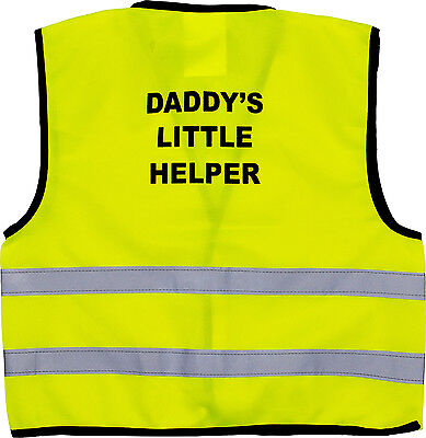 Affidabile Bambini Gilet Alta Visibilità Hi Vis Gilet Daddy's Little Helper Print Sul Retro-
