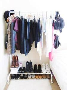 IKEA RIGGA Clothes rack, Single Pole Telescopic Clothes Rack / Dryer - White