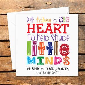 personalised thank you teacher card nursery nurse male female shape