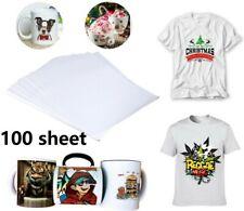 100 Pack Heat Transfer Paper T Shirt A4 Iron On Press Light Cotton Inkjet Print