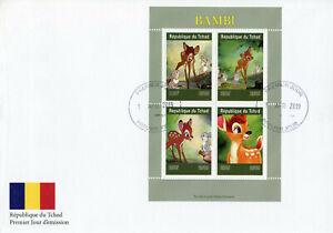 Chad-2019-FDC-Bambi-4v-M-S-CONIGLI-COVER-CERVO-Disney-Cartoni-Animati-Animazione-TIMBRI