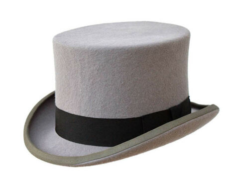Qualité de Marque Nouvelle Traditionnel Homme Formel Mariage événement Laine Gris Top Hat