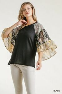 Umgee-Black-Floral-Paisley-Print-Bell-Sleeve-Waffle-Knit-Top