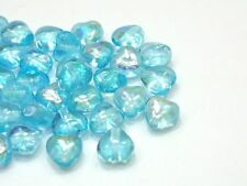 70 Böhmische Glasperlen Herzen 6mm Aqua AB Perlen Glassbeads Kralen A198
