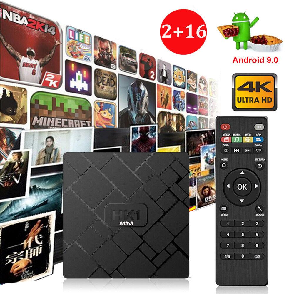 HK1MINI 2+16G Android 9.0 Quad Core TV BOX 4K Media Movie Sports WIFI MINI PC US android box core hk1mini media mini movie quad sports wifi