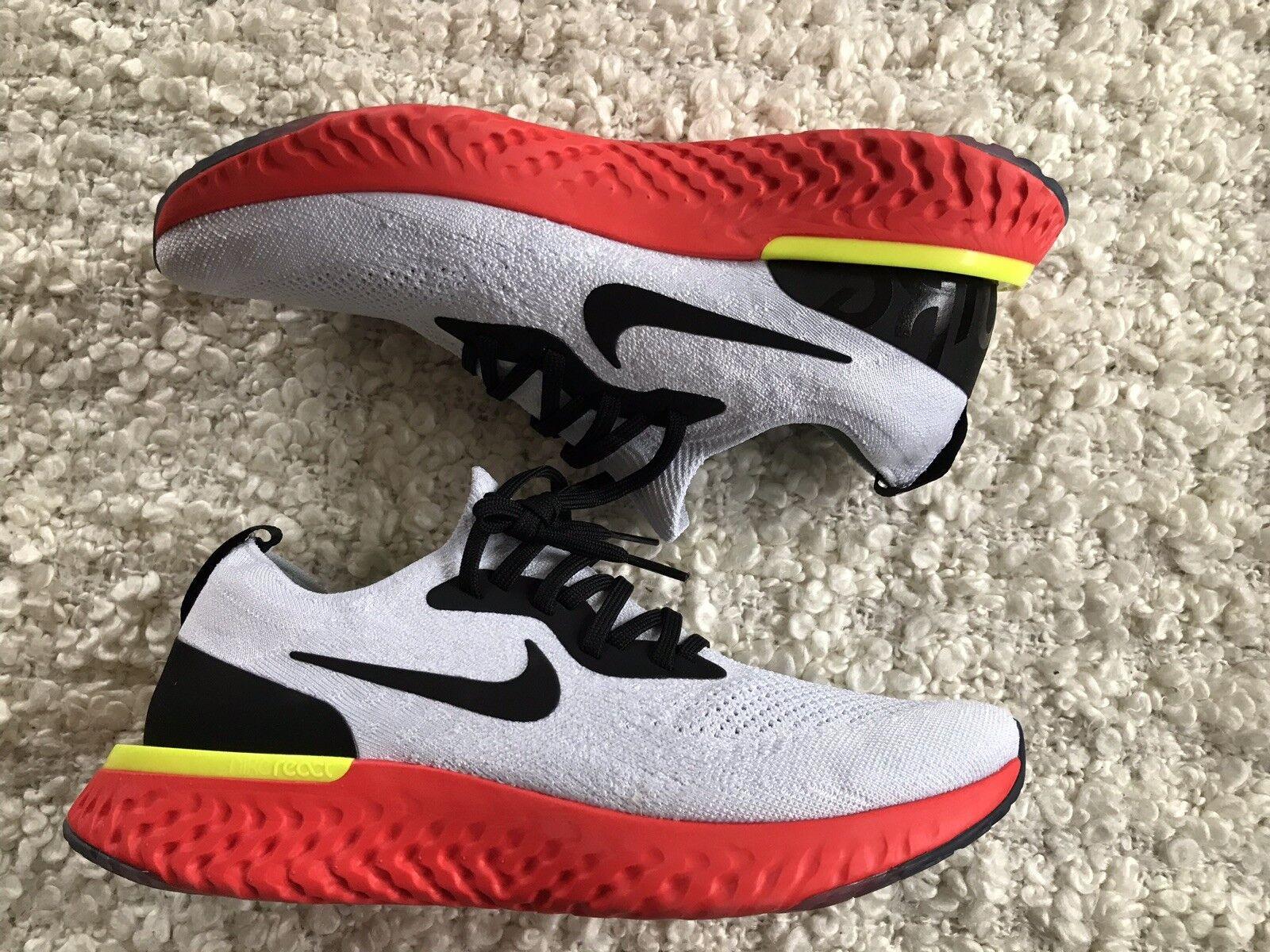 Nike Epic React Flyknit (Men's) - White Black orange - US 9,