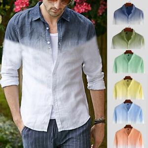 Mens-Fashion-Gradient-Casual-Shirt-Long-Sleeve-Slim-Fit-Dress-Shirts-Collar-Tops