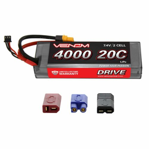 Venom 20C 2S 4000mAh RC 7.4V Hard Case LiPo Battery with Deans EC3 Traxxas Plug