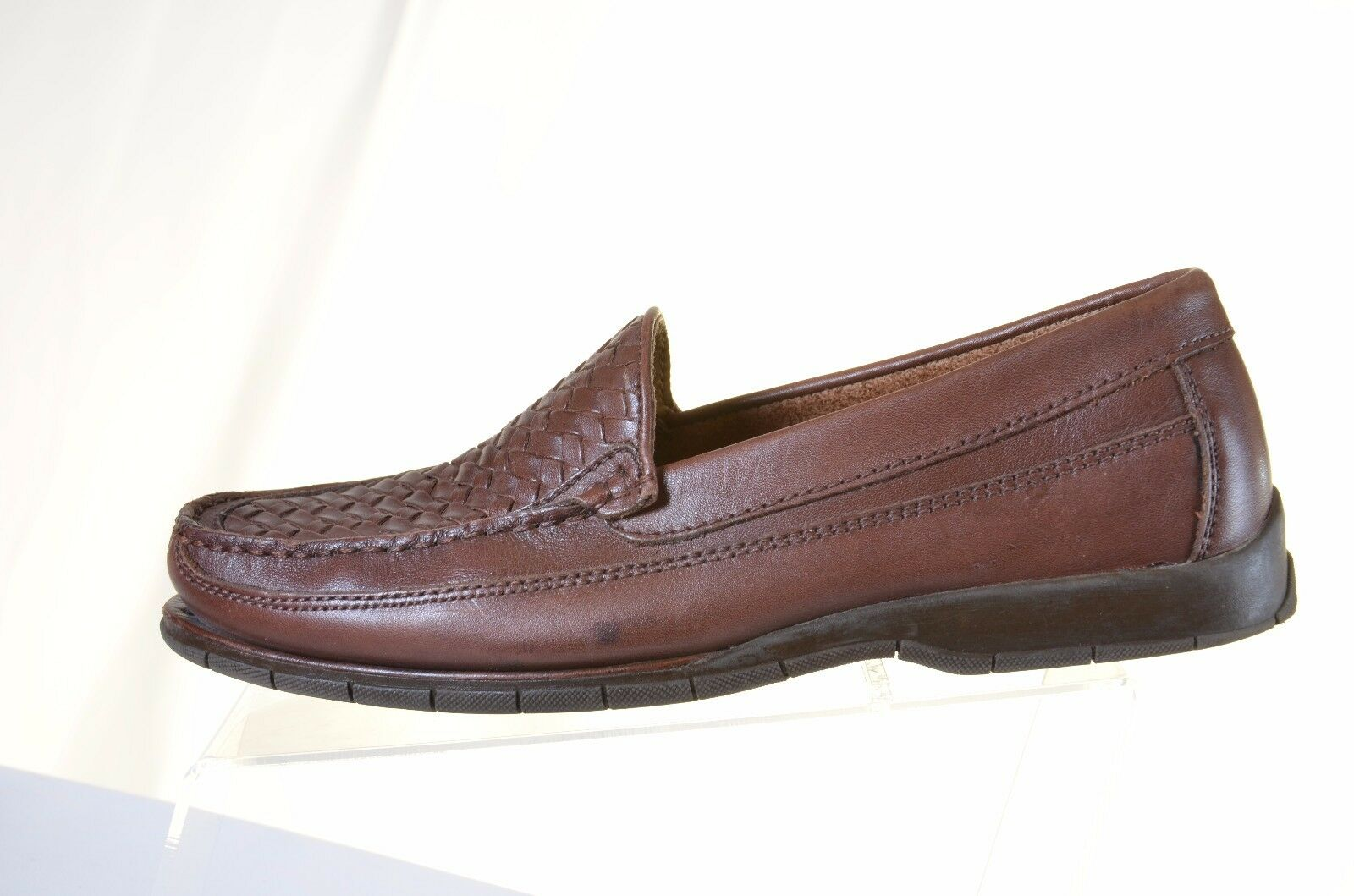 Georgio Brutini Mens 9.5M Brown Leather Weave Casual Slip On Loafers shoes  (L)