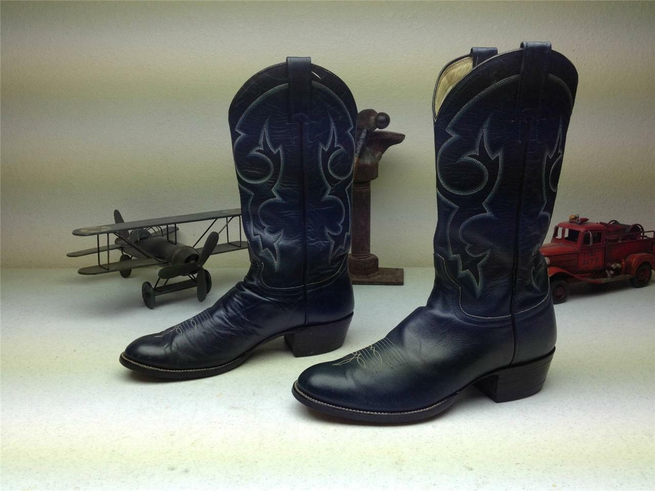 VINTAGE ADAMS 1984 BLUE BLUE BLUE LEATHER DISTRESSED WESTERN COWBOY BOOTS SIZE 9-9.5 D 7967d3