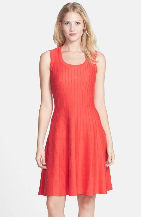 Nic + zoe Twirl' Knit Dress hot coral size PL