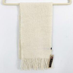Alpaca Wool Fringed Scarf from Peru Ivory