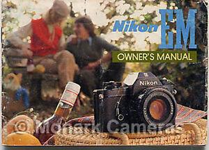 nikon em instruction book more camera user manuals owners guides rh ebay co uk Nikon EM Manual Mode Nikon EM User Manual
