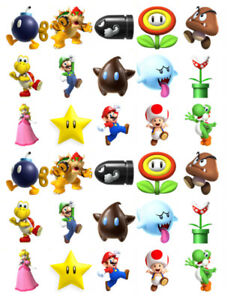 30-PRECUT-SUPER-MARIO-BIRTHDAY-EDIBLE-STAND-UP-CAKE-TOPPERS-PREMIUM-WAFER-CARD
