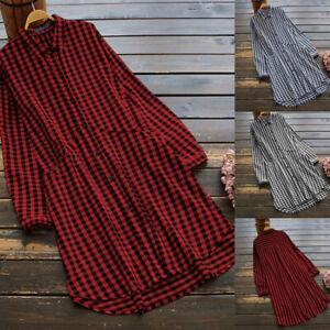 ZANZEA-Womens-Loose-Casual-Plaid-Check-Long-Sleeve-Tops-Blouse-Mini-Shirt-Dress