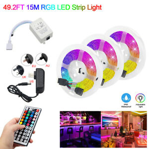 49-2ft-32-8ft-RGB-Waterproof-3528-LED-Strip-Light-SMD-44Key-Remote-12V-Power-Kit