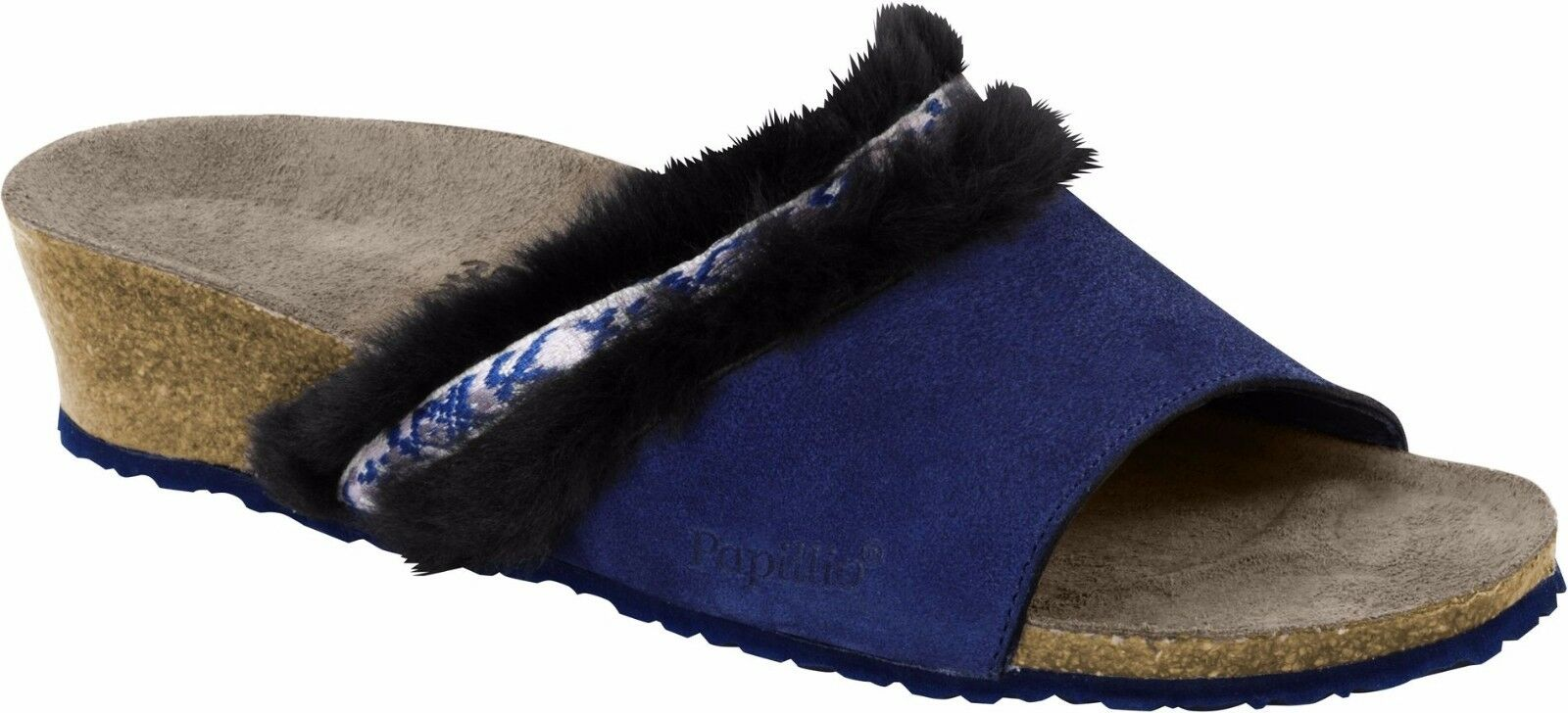 Último gran descuento Papillio Amber Cozy Night Blue Veloursleder/Fell Größe 38 Fußbett schmal