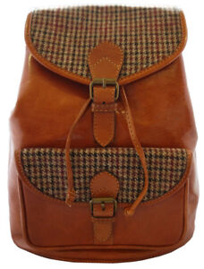 39e081ec8faf Hand-made Premium Leather and Yorkshire Tweed Rucksack backpack Tan ...