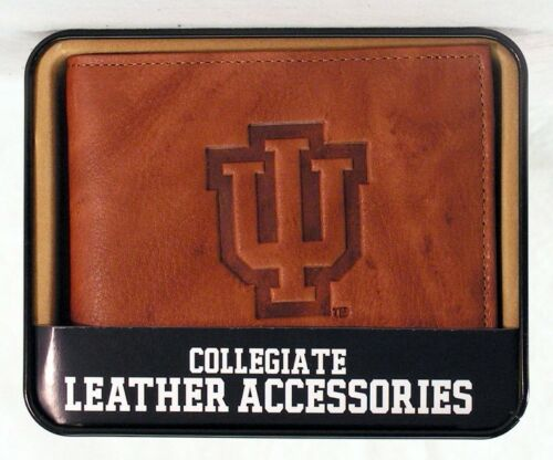 Indiana Hoosiers NCAA Embossed Leather Billfold Wallet NEW in Gift Tin