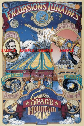 Vintage Disney B2G1F Euro Space Mountain Collector/'s Poster Print