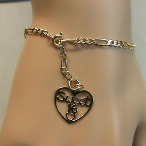 Details About 9 Ct Gold Second Hand Figaro Ankle Bracelet Sweet 16