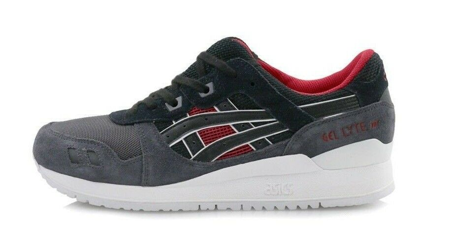 new style d672c b1cbe Asics Men's GEL-LYTE III Shoes NEW AUTHENTIC Black/Red H6X2L-9090